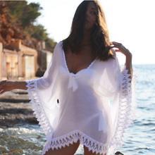 New Women Lady Sexy V Neck Loose Lace Beach Swimsuit Bikini Boho White Casual Elegant Sweet Cover Up Dress(China (Mainland))