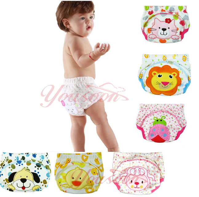 2pcs/lot 4 Layers Waterproof Baby Diapers Baby Boy Shorts Baby Girl Underwear Infant Training Panties Baby Nappies(China (Mainland))