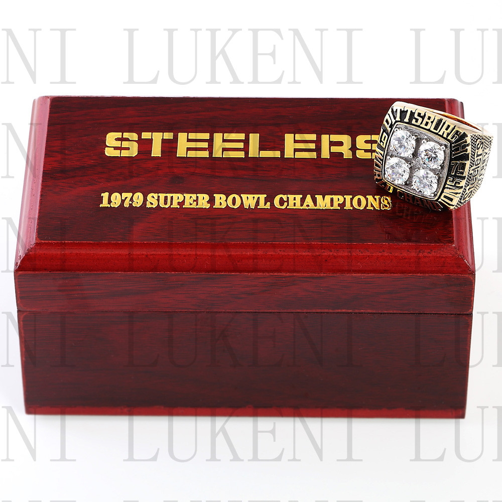 Replica 1979 Super Bowl XIV Pittsburgh Steelers Championship Ring Football Rings With High Quality Wooden Box Best Gift LUKENI(China (Mainland))