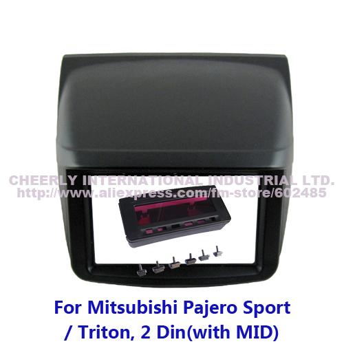 Double Din Car Dash Kit for Mitsubishi Pajero Sport Triton with MID Stereo Styling Adaptor Audio Trim Panel Facia Kits Bezel(China (Mainland))