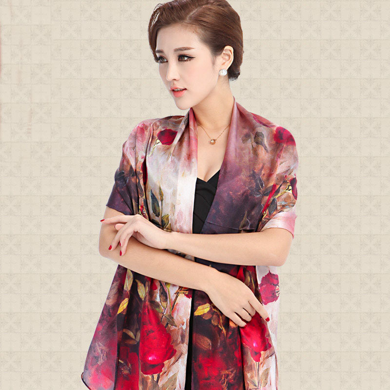 2015 Spring new silk scarves women 100% mulberry silk scarf plain satin long silk scarves printed silk pashmina SH002