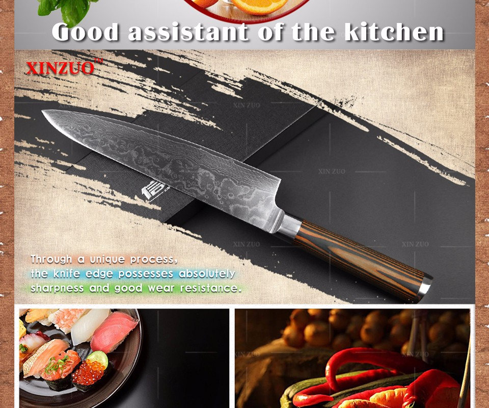 "Buy 2016 XINZUO 8"" chef knives high quality fashion Japanese VG10 Damascus steel kitchen knife with color wood handle Free shipping cheap"