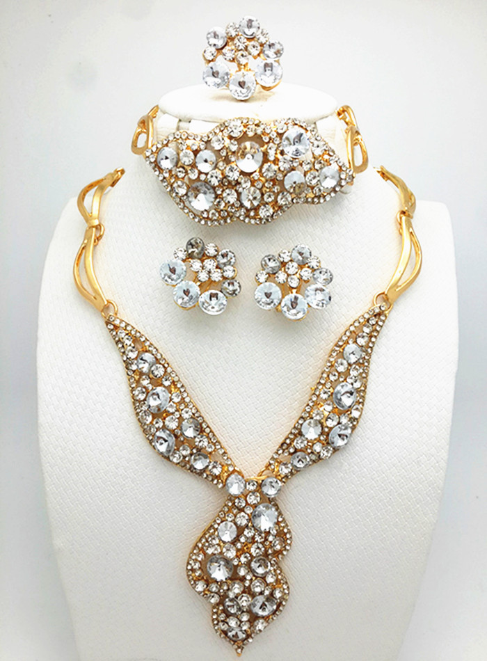 Jewelry Sets For Women African Beads Collar Statement Necklace Earrings Bracelet Rings Set Vintage Party Wedding Accessories(China (Mainland))