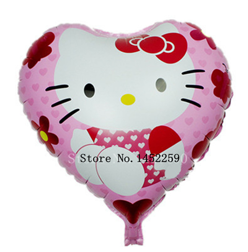 Free shipping new 5pcs / lots kt cartoon cat aluminum balloons party balloons heart-shaped childrens toys wholesale hellokt <br><br>Aliexpress