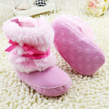 Princess Baby Girls Bow Knot Snow Warm Boots Soft Crib Shoes Toddler Fleece Boots