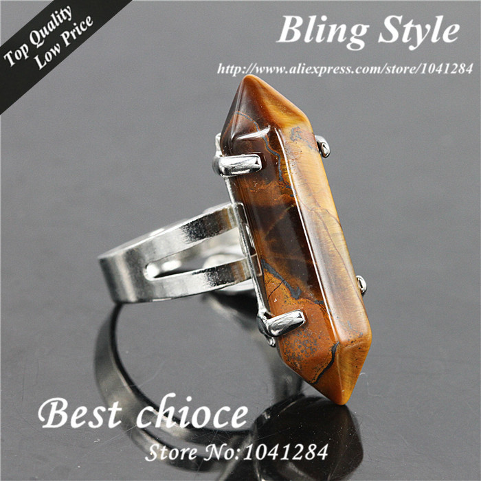 10PCS Tiger Eye Agate Points Adjustable Rings,Healing Hexagon Prism Crystal Drusy Quartz Stone Silver Finger Ring(China (Mainland))