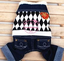 Small Dog Clothes for Boys Winter Gridiron Pattern Fleece Lined Jacket Denim Jeans Outfits