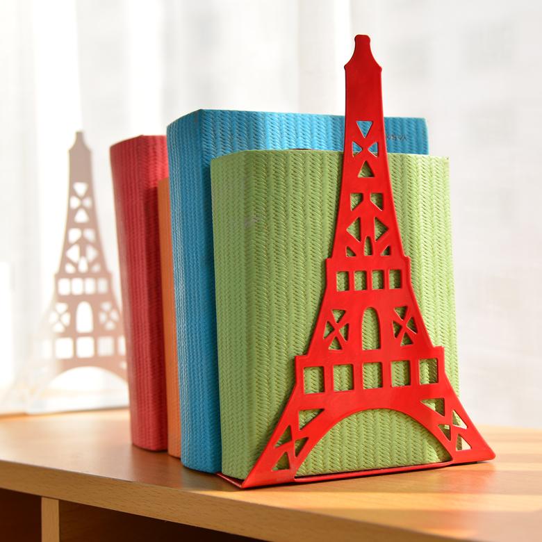 2pcs/Pair Korean Large Fashion Bookshelf Metal Bookend Eiffel Tower Desk Holder Stand For Books Organizer,White Black Red Blue(China (Mainland))