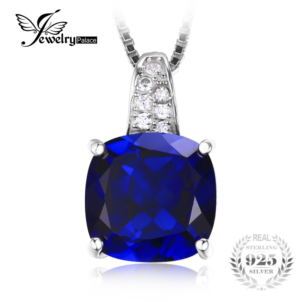 JewelryPalace Cushion 4.9ct Created Blue Sapphire Solitaire Pendant 925 Sterling Silver Pendant Fine Jewelry Not Include Chain(China (Mainland))