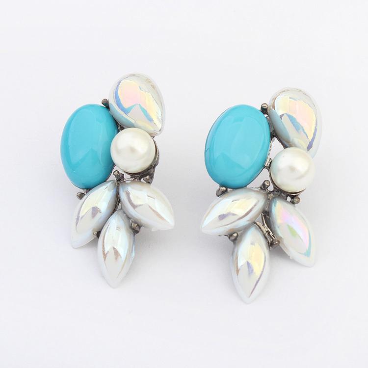 Brand Bijoux Fashion Charms Crystal Cubic Zircon Diamond Pearl Beads Gem Flower Stud Earrings Women's Jewelry Gift B019 - Lemon Value Sale store
