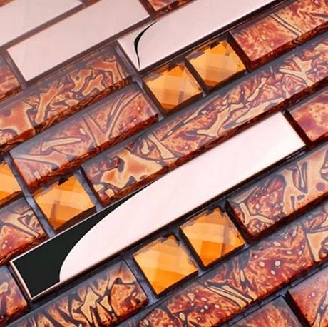 metal mixed brown color electroplating glass tiles diamond for kitchen glass backsplash tile bathroom shower tile border<br><br>Aliexpress