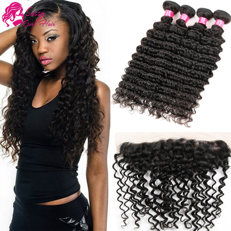 Deep Wave Frontal With Bundles 13x4 Lace Frontal With Bundles Malaysian Ms Lula Hair With Closure And Bundles Deep Wave<br><br>Aliexpress