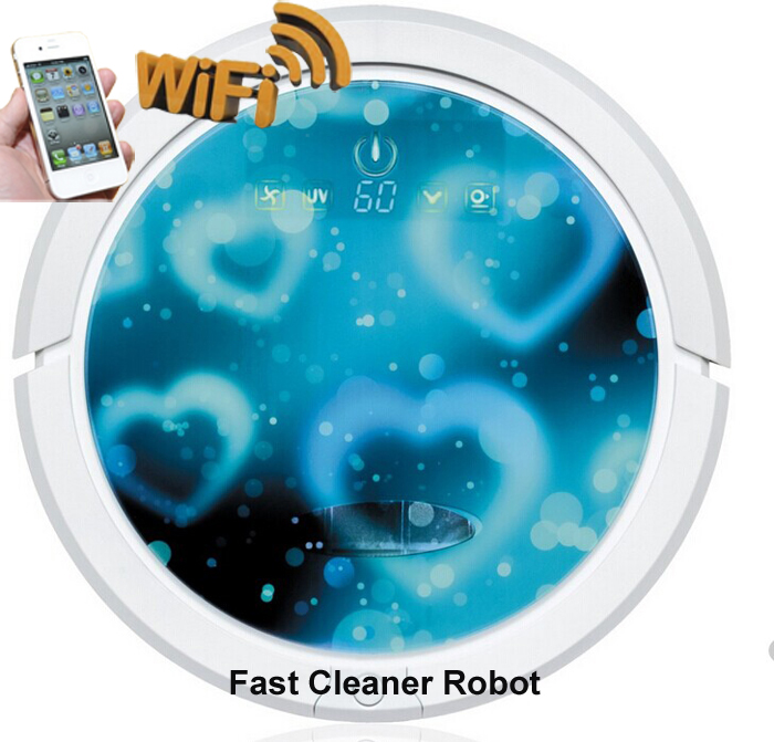 Blue Heart Color Newest WIFI Smartphone App Control Wet And Dry Mop Together Cordless Vacuum Cleaner Robot With Lithium battery(China (Mainland))