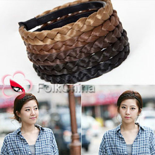 New Girl Braided Plait Plaited Wig Hair Band Headband 1.5cm Width HCT-C 5 Colors Free Shipping(China (Mainland))
