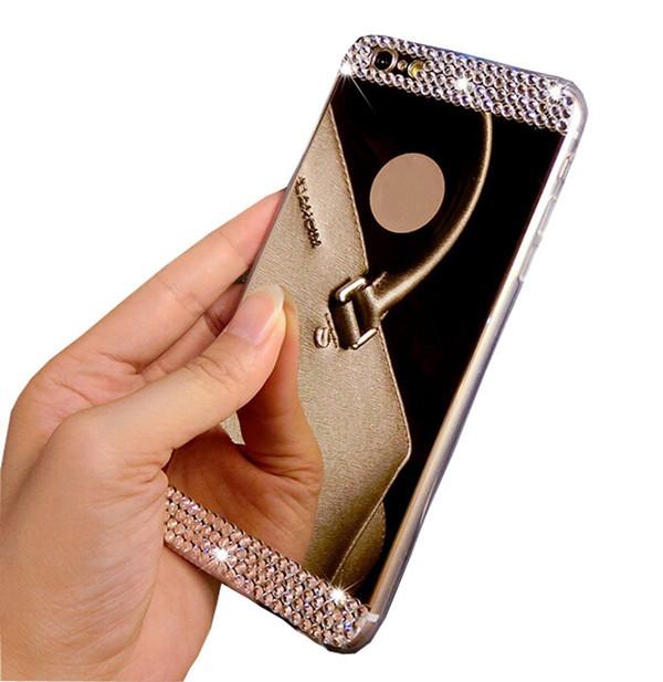 Luxury Rhinestone Diamond Mirror TPU Soft Gel Bling Case Cover For Apple iPhone 5/5S 6 6 Plus ,Free Shipping(China (Mainland))