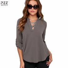 Plus Size V Neck Top Loose Chiffon Casual Blouse Orange Long-Sleeved Shirt Tunic Vintage Casual Shirt Women Office Blouse 2016