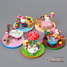 High Quality Anime Cartoon Hello Kitty KT Cat Casual Time PVC Action Figure Model Toys Christmas Gifts For Kids 5pcs/set