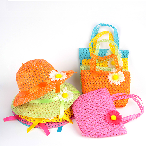 Summer Hat Girl Kids Beach Hat Bag Flower Straw Hat Cap Tote Handbag Bag Suit(China (Mainland))