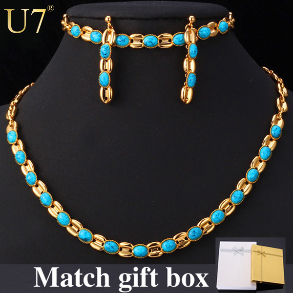 Trendy 2015 New 2 Colors Platinum/18K Gold Plated Turquoise Women Jewelry Wholesale Necklace/Earrings/Bracelet Jewelry Set S586(China (Mainland))
