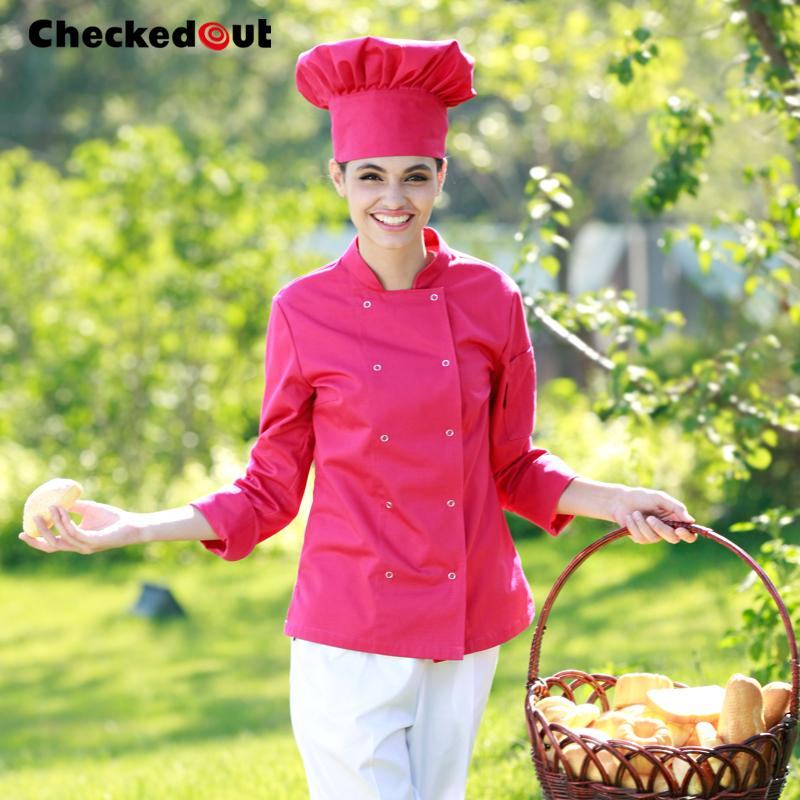 Colored Chef Coats female double breast chefwear western kitchen chefs jackets uk hotel chef uniforms for women free shipping(China (Mainland))
