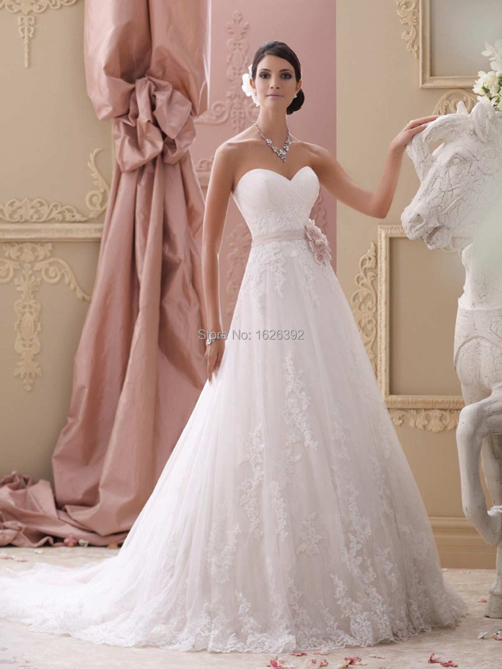 Pretty gorgeous 2015 bridal wedding dresses pink for A line sweetheart tulle wedding dress
