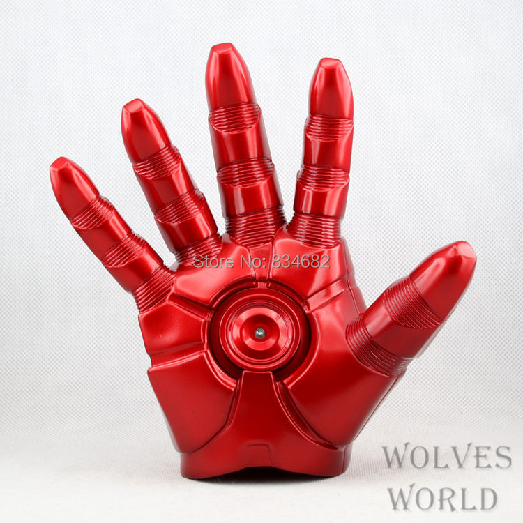 J.G Chen Free  The Avengers Shipping Superhero Iron Man Mark 3 Gloves with LED Light PVC Action Figure Toy 1pcs
