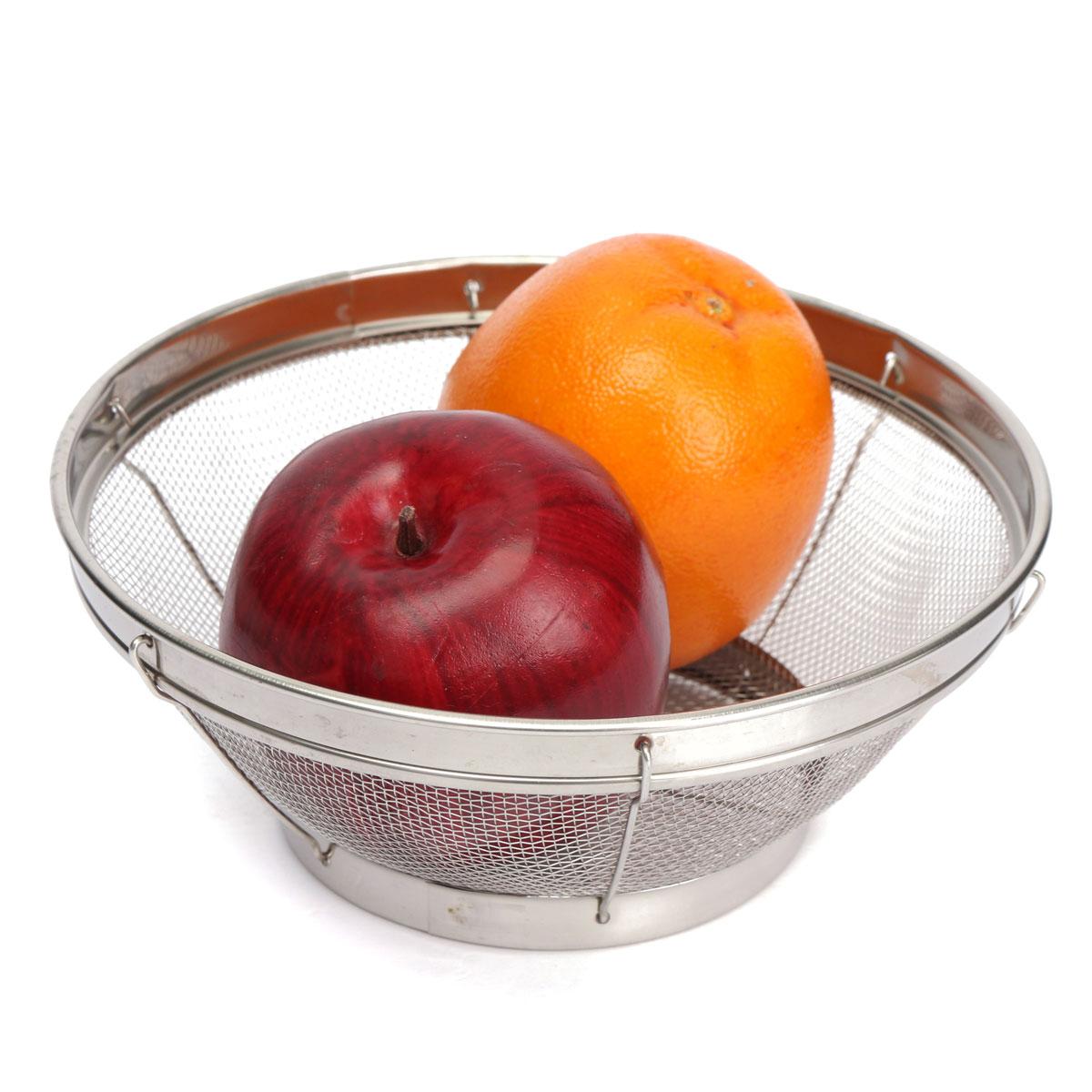 4 Size Design Household Put Fruit Vegetable Basket Stainless Steel Drain Plate Kitchen Storage Food Bowl Holder(China (Mainland))