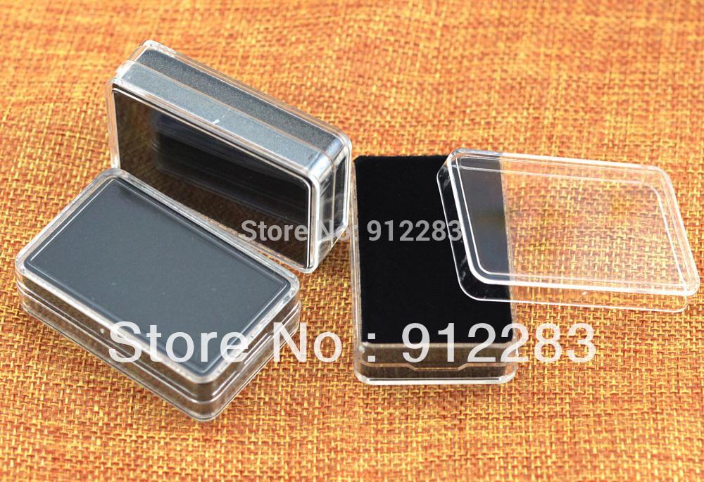 "Free Shipping 18pcs Black Sponge Earring Studs,Pendant,Trinket Plastic Case Box Showcase box,Gift Box 2.28x1.49"" #90470(China (Mainland))"