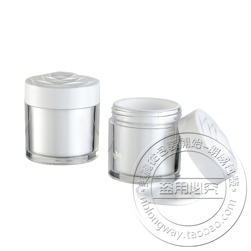 10PCS/LOT-50G Cream Jar,Acrylic,Double Layer,Empty Plastic Cosmetic Container,Sample Mask Canister,Makeup Sub-bottling(China (Mainland))