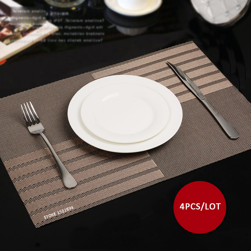 45X30CM Non slip Insulation Placemat Quality PVC Table Placemat Large Dinner Mat Set of 4PCS Table Mats Fashion Style Dining Mat(China (Mainland))