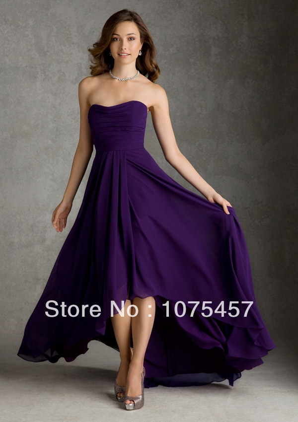 Purple Bridesmaid Dresses Short Front Long Back Chiffon ...