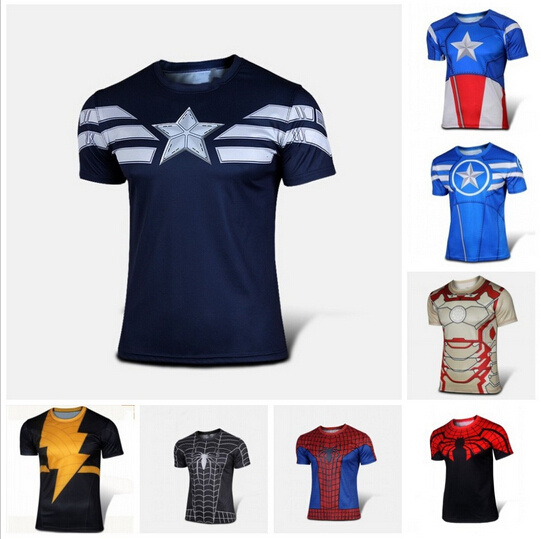 NEW 2015 Marvel Captain America 2 Super Hero lycra compression tights sport T shirt Men fitness clothing short sleeves XS-4XL(China (Mainland))