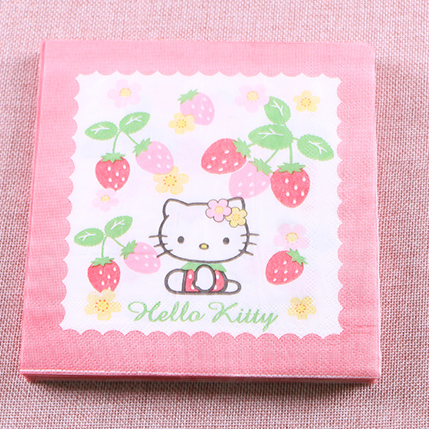 20pcs Pink Hello Kitty Napkins Tissue Paper 100 Virgin