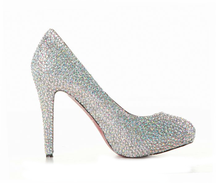Cheap Bling Out Wedding Shoes: Luxury white high heels rhinestone
