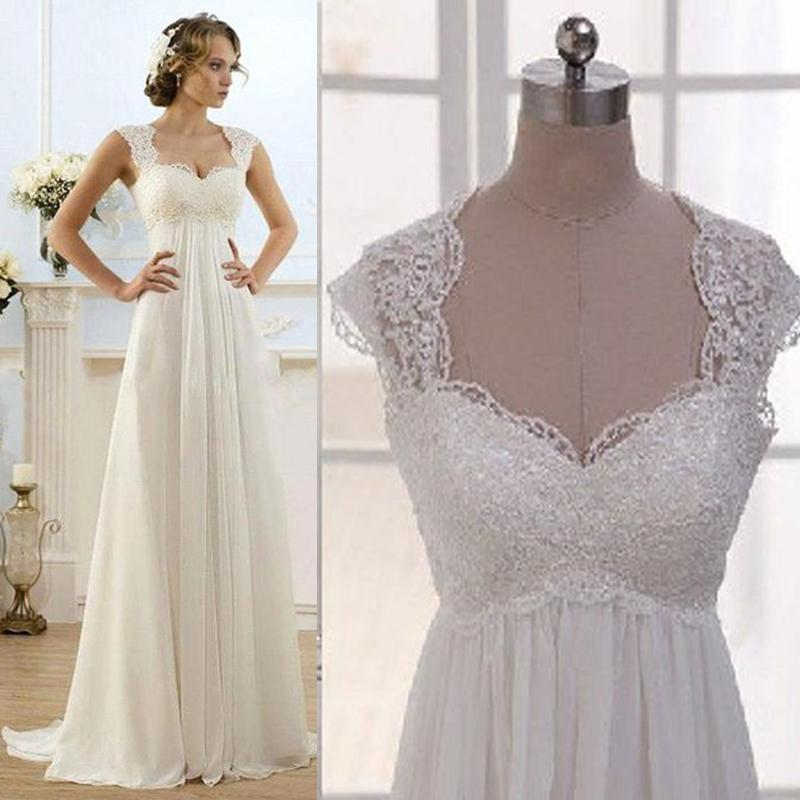 Empire Waist Chiffon Plus Size Wedding Dresses 38