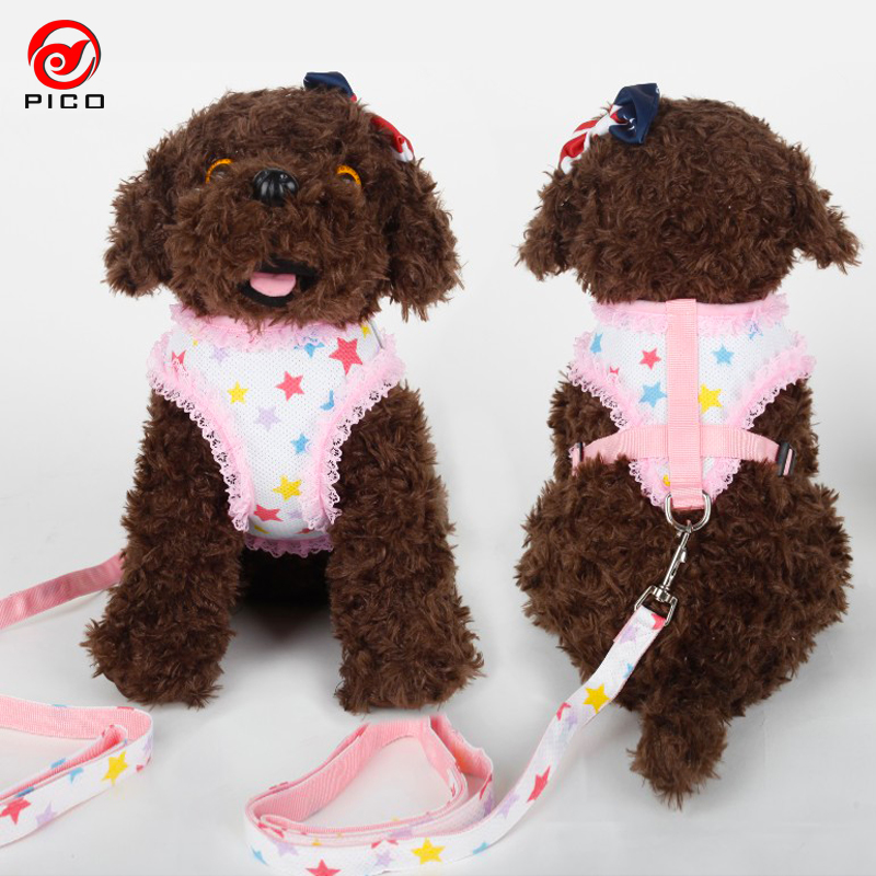 Cute Grid Pet Puppy dog harness vest dog accessories Lace dog collar and leash set high quality pets rope chihuahua ZL145-3(China (Mainland))