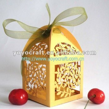 "Free Ribbon free unique design Amazing cute gift cases various colors""Leaves""wedding box  fast shippment carving favor box"