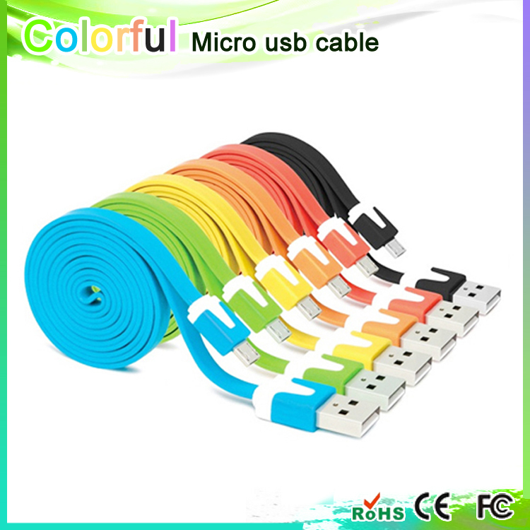 A18 1 lot 5 PCS Free shipping!1 meter colorful flat Micro USB Cable 2.0 Data sync Charger cable For Samsung galaxy android phone(China (Mainland))