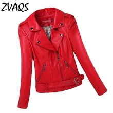 2016 Faux Leather Jacket Women Short Motorcycle Jacket Ladies Spring Leather Jacket Female Coat Leather Woman Brand Coat YM20(China (Mainland))