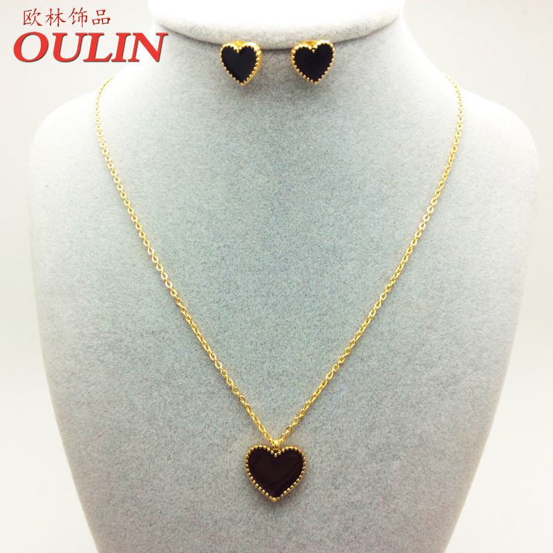 OULIN 2016 18K Gold/Rose Plated Necklaces & Pendants Jewelry Set Love Heart Earring and Necklace Stainless Steel XJJS01(China (Mainland))