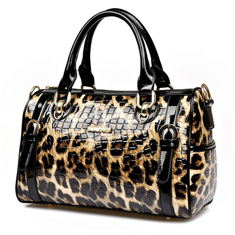Luxury Leopard Women Leather handbags European and American Fashion Composite Buy one get one shoulder wrist Totes bag and purse(China (Mainland))