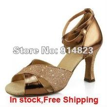 In stock lady's ballroom/latin dance shoes, women glitter dance shoes,8cm heel hight,1 pair mini order free shipping(China (Mainland))