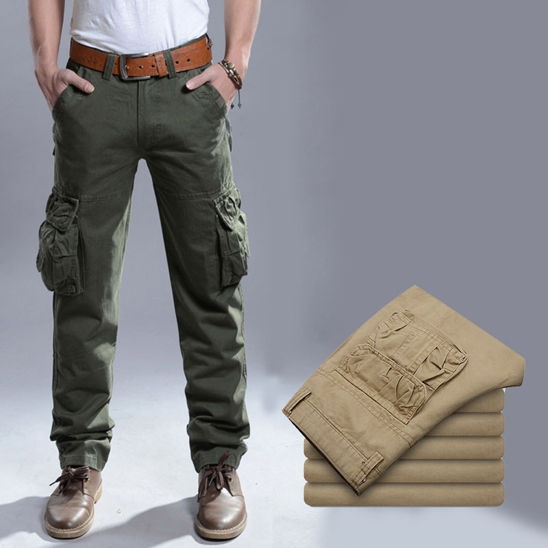 Autumn 2014 mens Slacks straight trousers man's large size multi-bags pants outdoor overalls men's Skateboard sports trousers(China (Mainland))