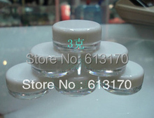 3g square cream jar  cosmetic container plastic bottle sample jar free shipping