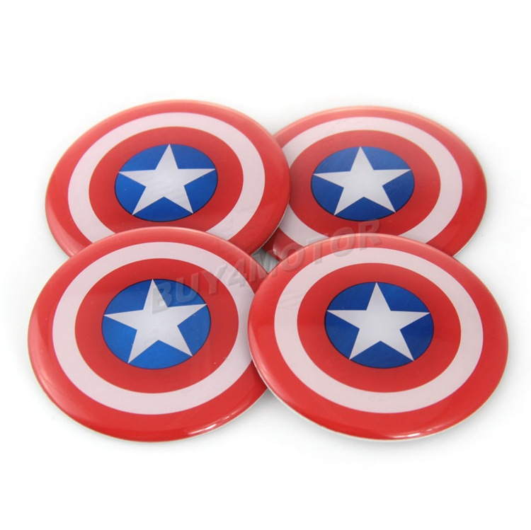 New 4x Captain America 60mm Car Steering Wheel Center Hub Cap Emblem Badge Decal Symbol Sticker For Honda VW Audi BMW Dodge Ford(China (Mainland))