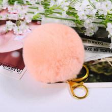 8 centímetros Real de Pele De Coelho Bola Pompom De Pele Chaveiro Chaveiro Clave Chaveiro Porte Pompons Fofo Mulheres Saco Chave Do Carro titular Anel Llaveros(China)