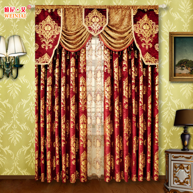 Modern Brief Fashion Head Curtain Quality Velvet Wine Red Curtain Thick Water Soluble Embroidery