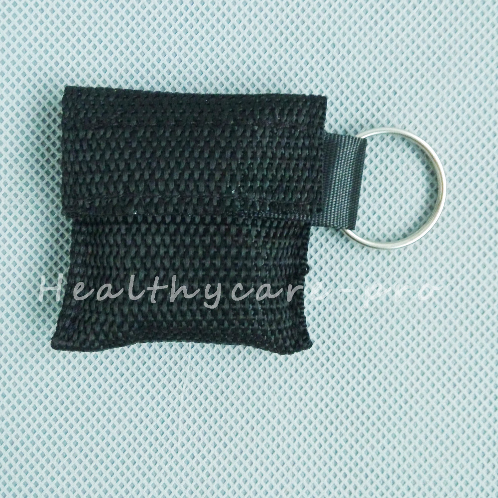 100 PCS /lot CPR MASK WITH KEYCHAIN CPR FACE SHIELD For Cpr/AED BLACK COLOR NEW<br><br>Aliexpress