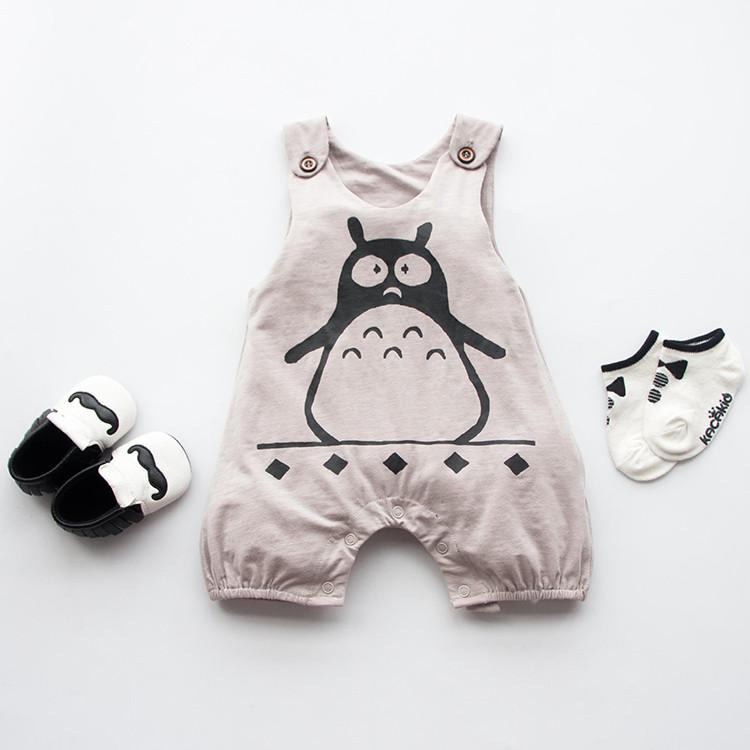 GREY penguin 100 Cotton Short Sleeve font b Clothing b font Similar Jumpsuit Printed Baby font