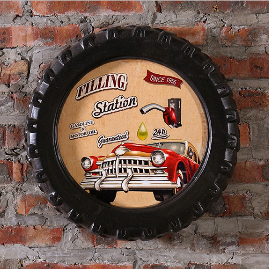 Gas Station Large Car Tires MDF Foaming Sign Vintage Wood Painting Cafe Bar Decor Retro Mural Poster Wall Sticker 40X40X7 CM(China (Mainland))